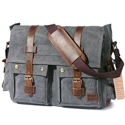 Bolso bandolera Lifewit para hombre 39.6- 43.9 cm lona retro, bolso de hombro con cuero militar para laptop, 17.3 inch...