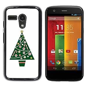 Be Good Phone Accessory // Dura Cáscara cubierta Protectora Caso Carcasa Funda de Protección para Motorola Moto G 1 1ST Gen I X1032 // Tree Minimalist White Winter