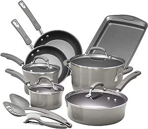 Rachael Ray Brights Nonstick Cookware Pots and Pans Set, 14 Piece, Sea Salt Gray