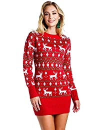 Tipsy Elves Women's Red Reindeer Fair Isle Ugly Christmas Sweater Dress for Ladies