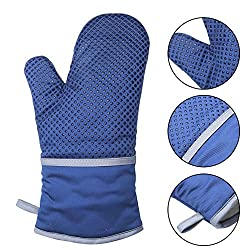 Cuncent Oven Mitts Heat Resistant (2018 New Design) Large Long Blue Silicone Oven Mitts With Cotton Lining For Kitchen