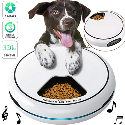 Pawzone Pet Automatic Feeder Cats Dogs Food Dispenser, Distribution Alarms, Programmable Timer 5 Meal Trays Dry Wet,Voice Recorder,LCD Smart Digital Clock