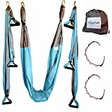 Aerial Yoga Swing - Gym Strength Antigravity Yoga Hammock - Inversion Trapeze Sling Equipment Two Extender Hanging Straps - Blue Grey Swings & Beginner Instructions Guide