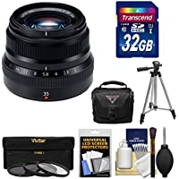Fujifilm 35mm f/2.0 XF R WR Lens (Black) with 32GB Card + 3 Filters + Tripod + Case + Kit for X-A2, X-E2, X-E2s, X-M1, X-T1, X-T10, X-Pro2 Cameras