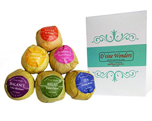 Bath Bombs Gift Set of 6 XL by D'vine Wonders Organic Essential Oil Lush Spa Fizzies Bath Bombs.Shea and Cocoa Soothe Dry Skin.Birthday Gifts for her Teen girls Valentine gift.Relaxing Bath Bubbles
