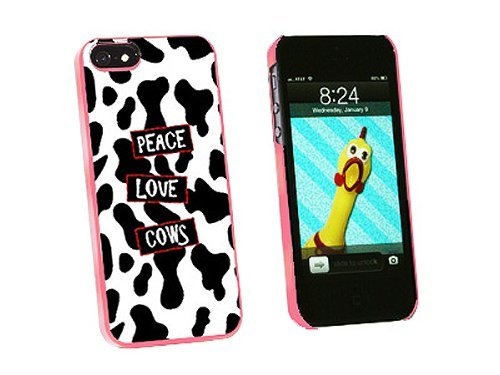 Graphics and More Peace Love Cows Snap-On Hard Protective Case for iPhone 5/5s - Non-Retail Packaging - Pink