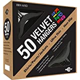 Closet Complete Kids Size Premium Heavyweight Velvet Hangers, Black, Set of 50