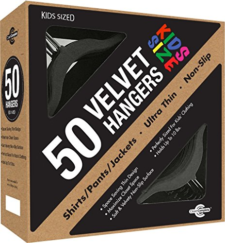 Closet Complete Kids Size, Premium Heavyweight, Velvet Hangers  Ultra-Thin, Space Saving, No-Slip, Perfectly Sized For Kids 4-15 years, - Black, Set of 50