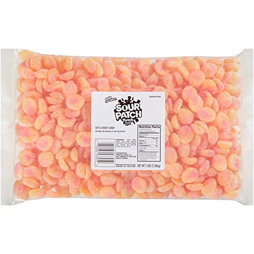 Sour Patch Peaches Sweet and Sour Gummy Peach Flavored Candy, 5 Pound Bulk Bag - 2 Pack (Gummy Sour Peach)