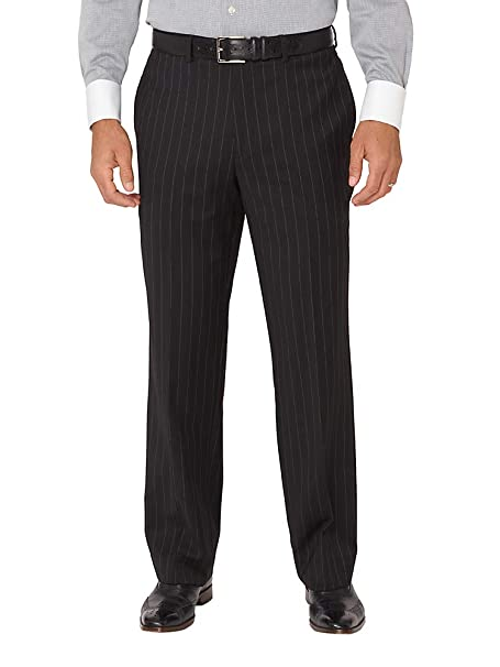 1920s Men's Pants, Trousers, Plus Fours, Knickers  Wool Stripe Flat Front Suit Pants Paul Fredrick Mens Super 100s $129.95 AT vintagedancer.com