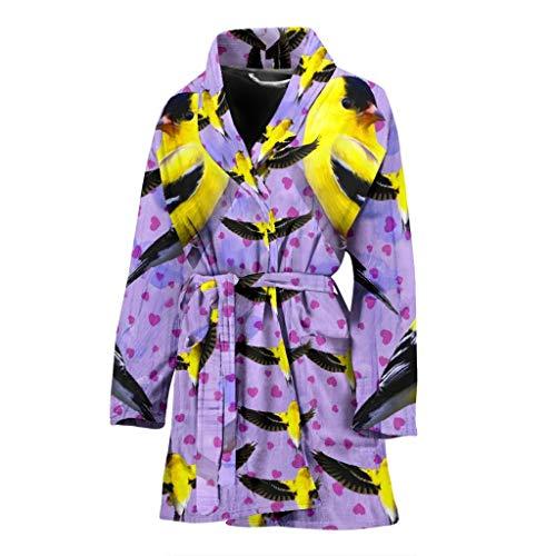 Pawick American Goldfinch Bird Print Women's Bath Robe