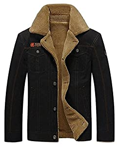 HOWON Men's Plus Cotton Warm Fur Collar Casual Button Military Cargo Jacket Outwear Parka Winter Quilted Coat