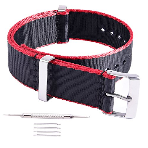Ritche Black With Red 20mm Nato Straps- Nylon Replacement Men Women Timex Weekender Straps Watch Bands