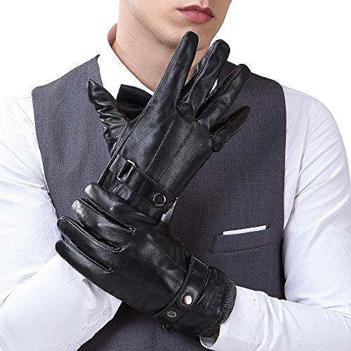 Mens Luxury Touchscreen Italian Nappa Genuine Leather Winter Warm Gloves for Texting Driving Cashmere Lining Blend Cuff (2XL-9.8'', Black) by FLY HAWK (Image #1)
