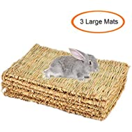 Grass Mat,Woven Bed Mat for Small Animal,Chew Toy Bed Play Ball for Guinea Pig Parrot Rabbit Bunny Hamster (Pack of 3) (3Grass Mat(Large))