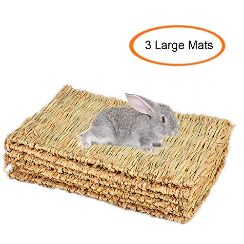 Grass Mat Woven Bed Mat for Small Animal Bunny Bedding Nest Chew Toy Bed Play Toy for Guinea Pig Parrot Rabbit Bunny Hamster Rat(Pack of 3) ()