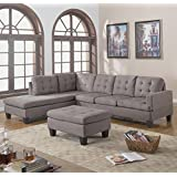 Divano Roma Furniture 3-Piece Reversible Chaise Sectional Sofa with Ottoman, Grey Charcoal