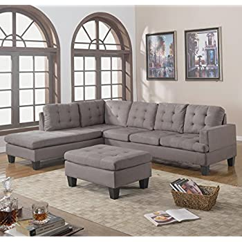 Divano Roma Furniture 3-Piece Reversible Chaise Sectional Sofa with Ottoman Grey Charcoal : sectional sofa with reversible chaise - Sectionals, Sofas & Couches