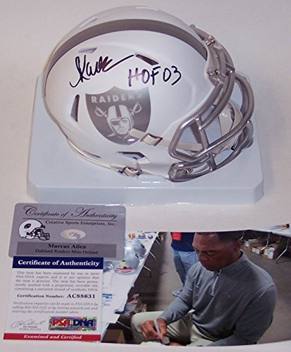 Marcus Allen Autographed Hand Signed Raiders ICE Speed Mini Football Helmet - with Hall of Fame 03 inscription - PSA/DNA (Marcus Allen Autographed Football)