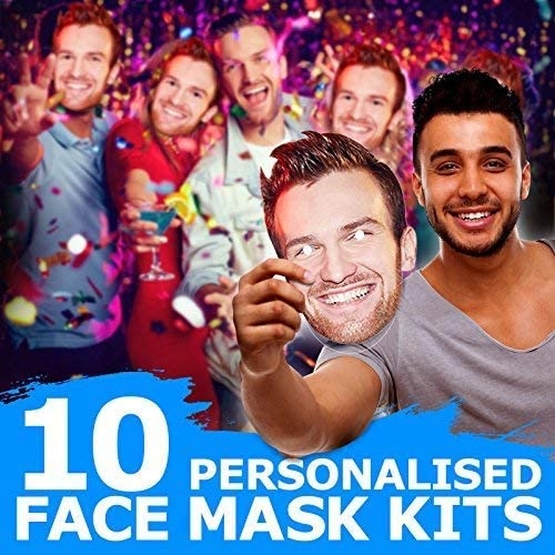 26 PERSONALISED PHOTO FACE MASK KITS FOR STAG /& HEN NIGHT BIRTHDAY PARTY !