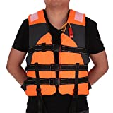 Ezyoutdoor Outdoor Adult Lifesaving Life Jacket Vest Swimming Marine Life Jackets Safety Survival Suit Aid for Water Sport Fishing (Orange)