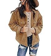 ROSKIKI Womens Corduroy Jackets Button Down Long Sleeve Casual Coat Outwear