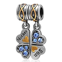 Ollia Jewelry Antique Sterling Silver 2pcs Dangle Charms Mother and Son Charm Four Leaf Clover Charm Family Love Beads (sky blue)