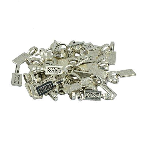 - Jili Online 50 Pieces Tibetan Silver Empty Rectangle Bezel Base Glue On Bails PendantDIY Jewelry Making Findings