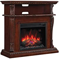 ClassicFlame 23DE1447-C233 Corinth Wall or Corner TV Stand for TVs up to 47, Vintage Cherry (Electric Fireplace Insert sold separately)