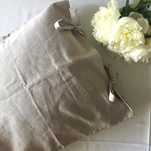 French Linen Pillow - Linen pillow sham with ties, standard, queen, king and square size, in natural linen oatmeal, white or off-white colors
