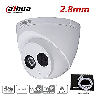 Dahua 4MP HD Security Camera, IPC-HDW4433C-A 2.8mm, Network Camera, Night Vision, Eyeball Dome IP Camera, 4 Megapixel IR 50M Better Night Vision H.265 HD IP67 ONVIF by Dahua