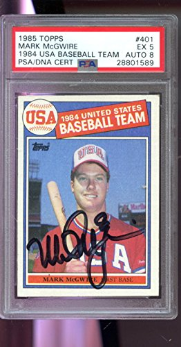 1985 Topps #401 Mark McGwire ROOKIE Signed AUTO Autograph Graded Card PSA 5 PSA/DNA 8