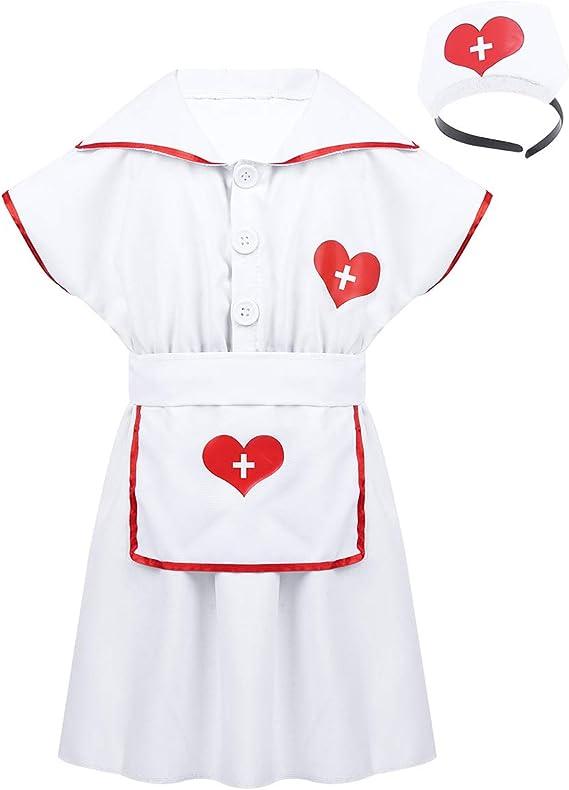 Freebily Disfraz Vestido Enfermera Niñas con Diadema Uniforme ...