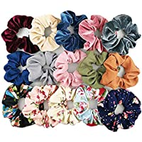 Fameza Women's Velvet, Chiffon, Cotton Elastic Scrunchies (Multicolour) -15 Pieces