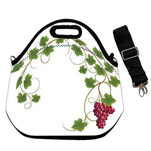 Grapes Home Decor Custom Neoprene Lunch Bag,Curved Ivy Branch Deciduous Woody Wines Seed Clusters Cabernet Kitchen for Lunch Trip Travel Work,With Shoulder Straps(12.6''L x 6.3''W x 12.6''H)
