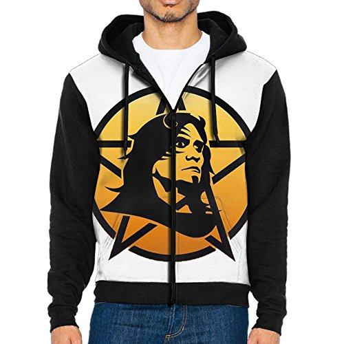 JuDian Rock Star Pentagram Hoodies For Men Sweater Hooded Sweatshirt Zip Fleece (Rock Zip Star Sweatshirt)