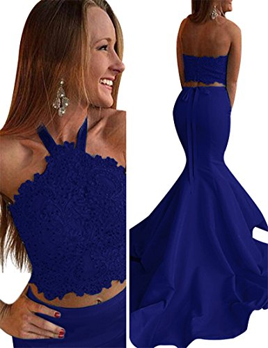 VinBridal Women's 2018 Halter Two Pieces Lace Beading Mermaid Prom Dresses (Two Piece Mermaid Dress)