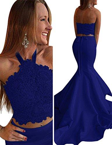 VinBridal Women's 2018 Halter Two Pieces Lace Beading Mermaid Prom Dresses (Dress Mermaid Piece Two)