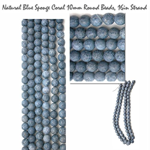 Rare Natural Blue Sponge Coral 10mm Round Beads Genuine Gemstone Beads for Jewelry Making Projects.