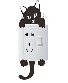 IHRKleid Vinilo Decorada Pegatina de Pared Impermeable Creativa Decorada Gato para el Enchufe y Interruptor (negro): Amazon.es: Bricolaje y herramientas
