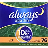 Always Ultra Overnight With Wings, Unscented Thin Pads 76 Count