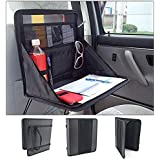AREO (Black) Back Seat Organizer Holder Oxford Fabric Car Laptop Drink Food Cup Tray Stand