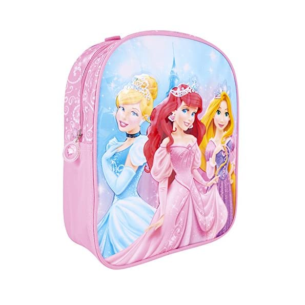 Zaino Principesse Disney per Bambina - Zainetto Principesse Scuola primaria e Asilo - Cenerentola, Ariel, Rapunzel