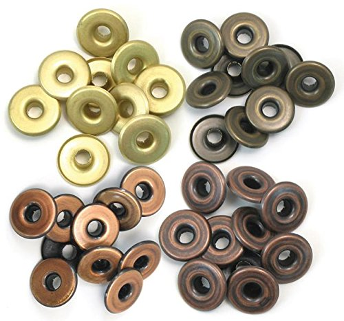 Wide Eyelets - We R Memory Keepers 41595-4 Eyelets for Scrapbooking, Warm Metal, Wide