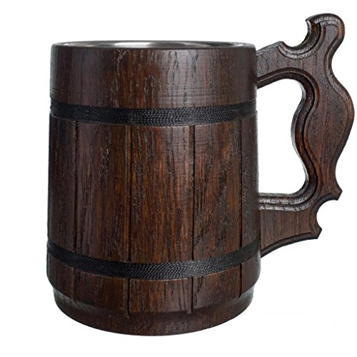 Barrel Stein - Handmade Beer Mug Natural Wood Stainless Steel Cup Gift Eco-Friendly 0.6L 20oz Classic Brown