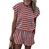 BTFBM 2018 Women Casual Striped Short Sleeve Wide Leg Loose Jumpsuit Romper Without Pockets (Pink, Medium)