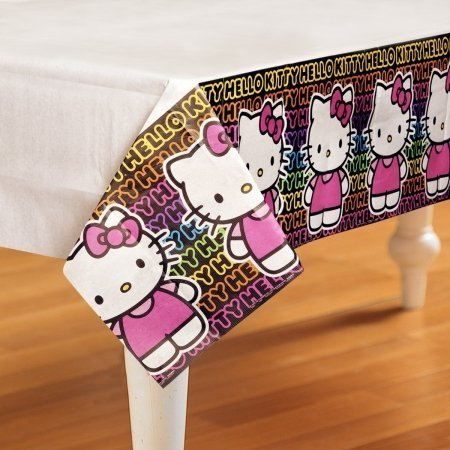Hello Kitty 'Neon Tween' Paper Tablecover (1ct) ,Multi-colored, one size -