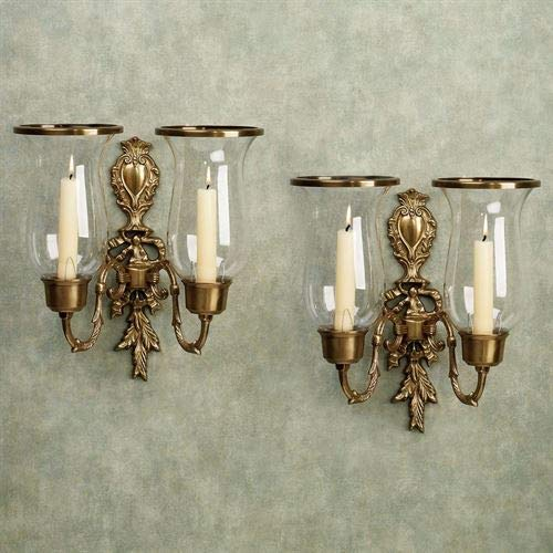 (Flythe Consulting Nerissa Double Sconces Antique Brass Pair)