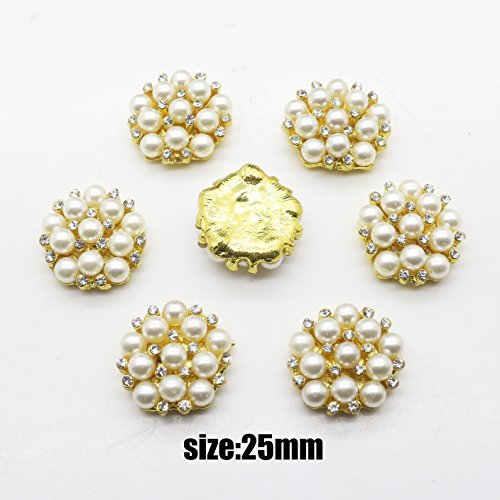 Gold Rhinestone Faux Pearl Flower Embellishments Button Flatback 20mm ()