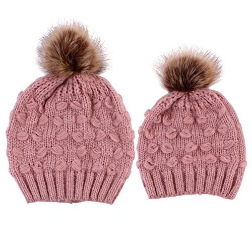 2PCS Parent-Child Hat, Mother Child Daughter Son Baby Winter Warm Soft Knit Hat Family Crochet Beanie Ski Cap with Pom Pom (Pink)